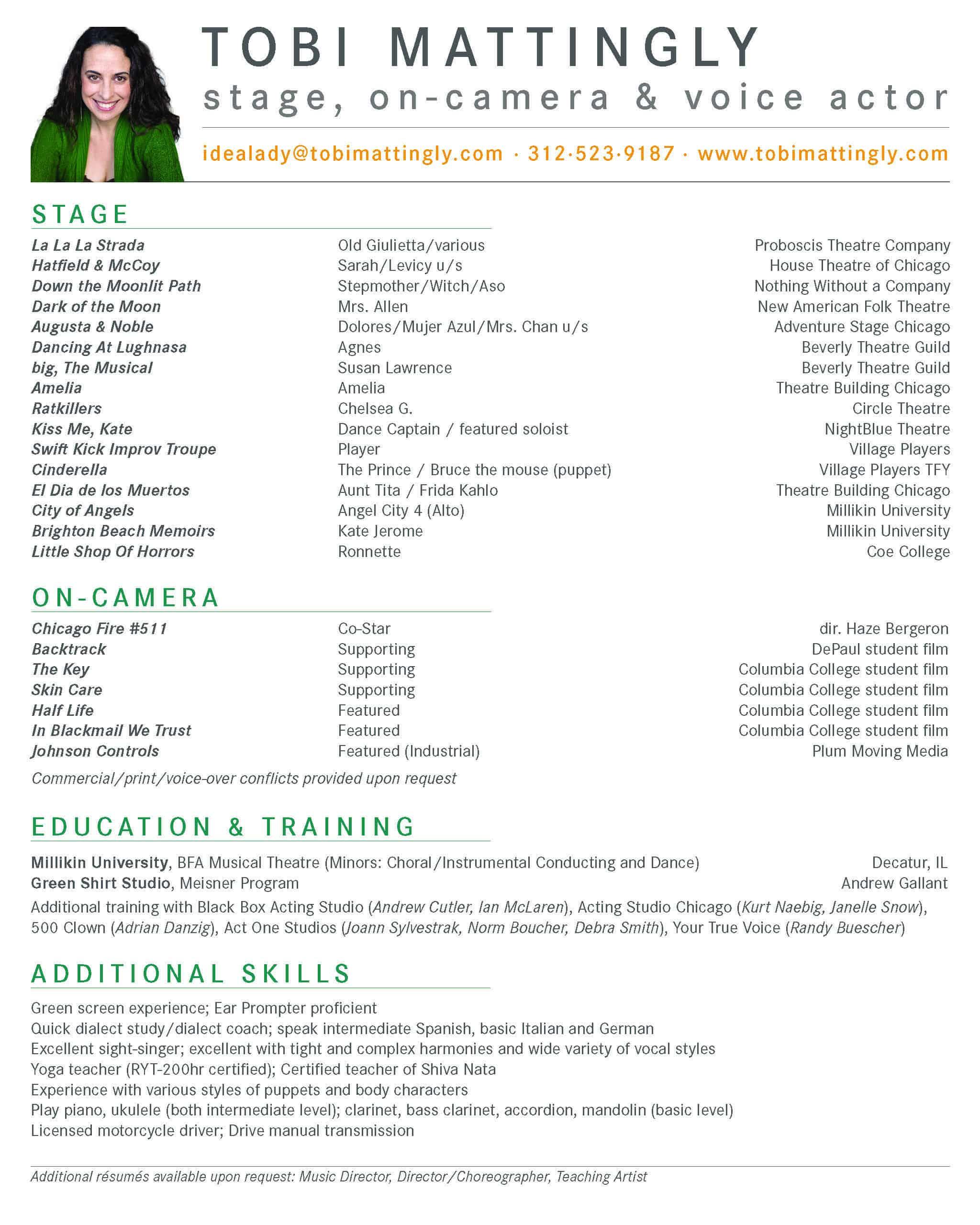 Tobi Mattingly Acting Résumé
