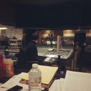 My view from the desk in the control room at Chicago Recording Company.